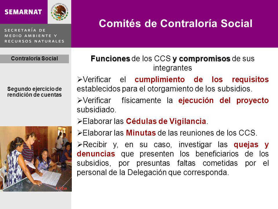Comités de Contraloría Social Segundo ejercicio de rendición de cuentas Contraloría Social Funcionesy compromisos Funciones de los CCS y compromisos de sus integrantes Verificar el cumplimiento de los requisitos establecidos para el otorgamiento de los subsidios.