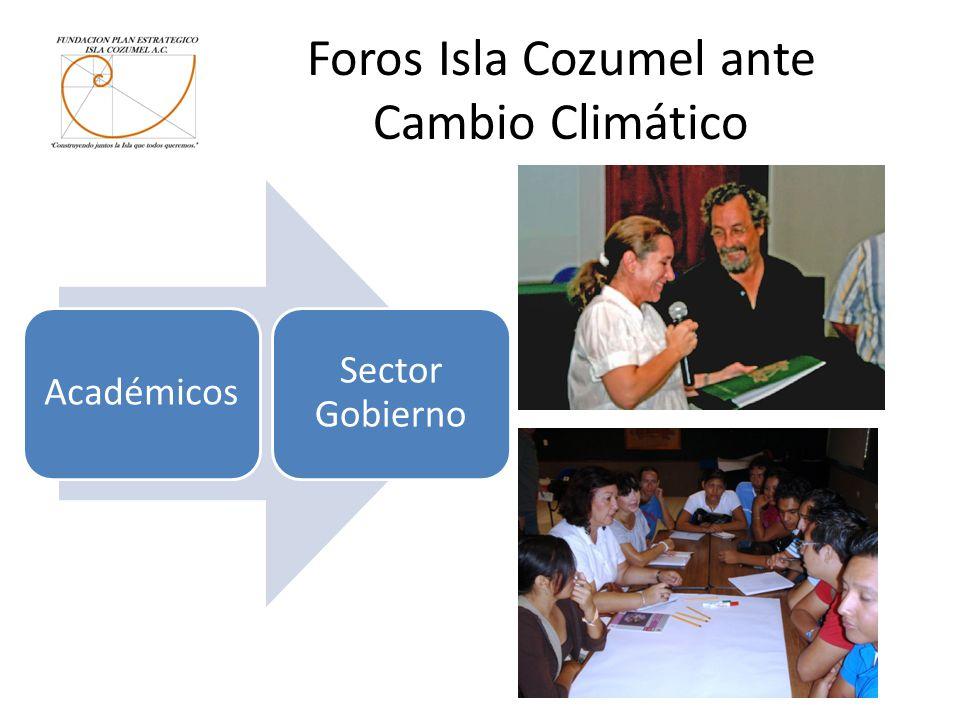 Foros Isla Cozumel ante Cambio Climático Académicos Sector Gobierno