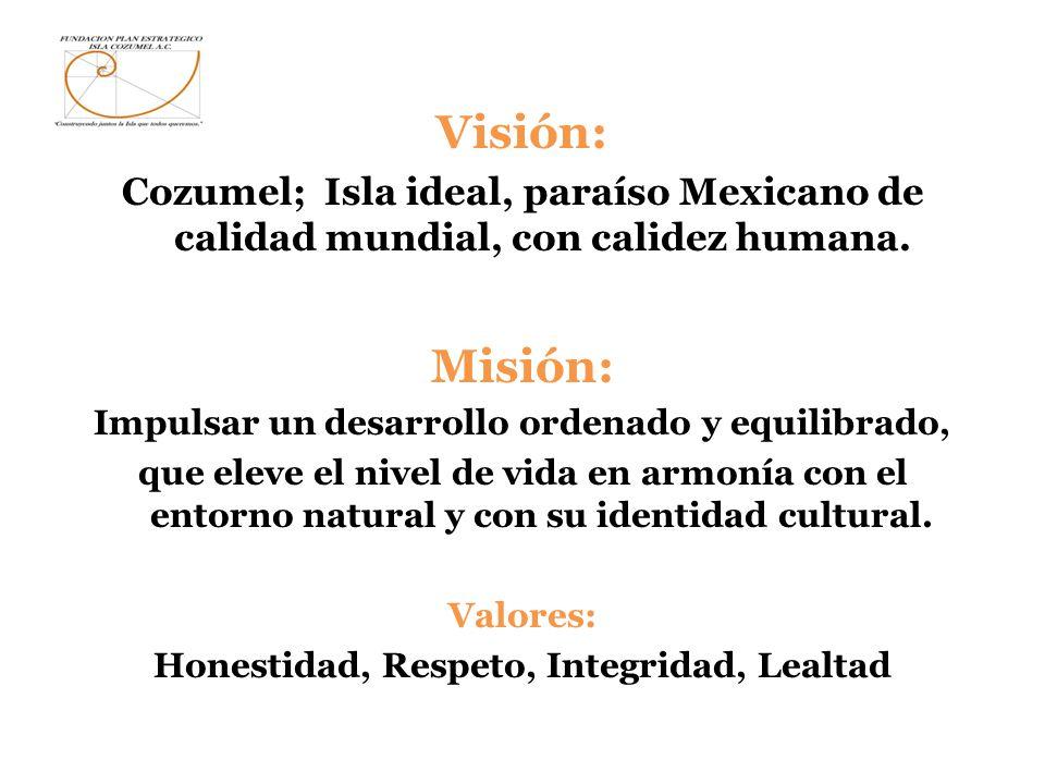 Visión: Cozumel; Isla ideal, paraíso Mexicano de calidad mundial, con calidez humana. Misión: Impulsar un desarrollo ordenado y equilibrado, que eleve