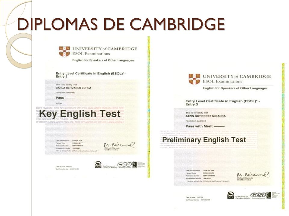 DIPLOMAS DE CAMBRIDGE