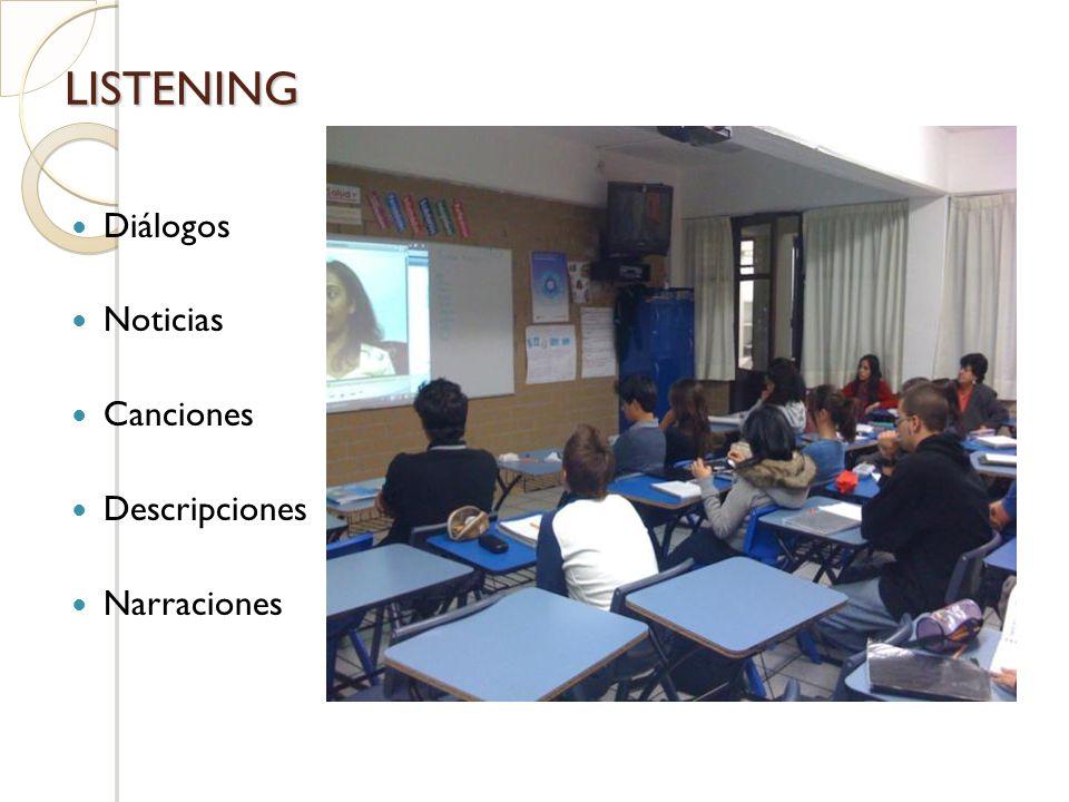 LISTENING Diálogos Noticias Canciones Descripciones Narraciones