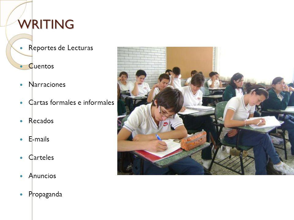 WRITING Reportes de Lecturas Cuentos Narraciones Cartas formales e informales Recados E-mails Carteles Anuncios Propaganda