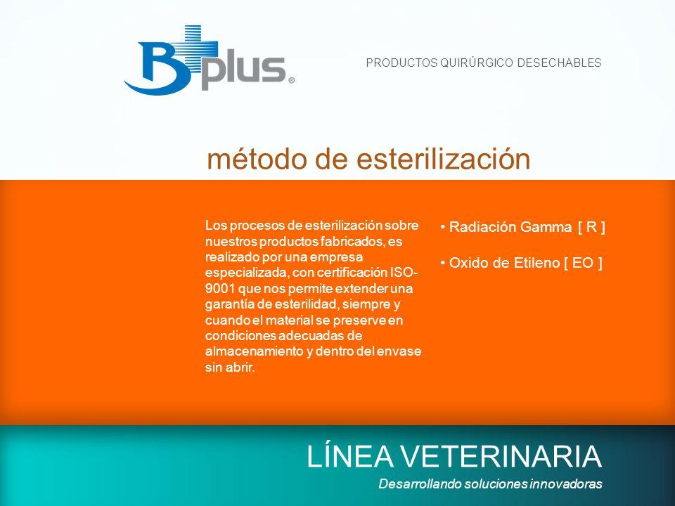 PRODUCTOS QUIRÚRGICO DESECHABLES método de esterilización LÍNEA VETERINARIA Desarrollando soluciones innovadoras Los procesos de esterilización sobre