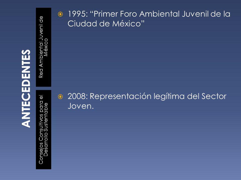 Red Ambiental Juvenil de México Consejos Consultivos para el Desarrollo Sustentable 1995: Primer Foro Ambiental Juvenil de la Ciudad de México 2008: R