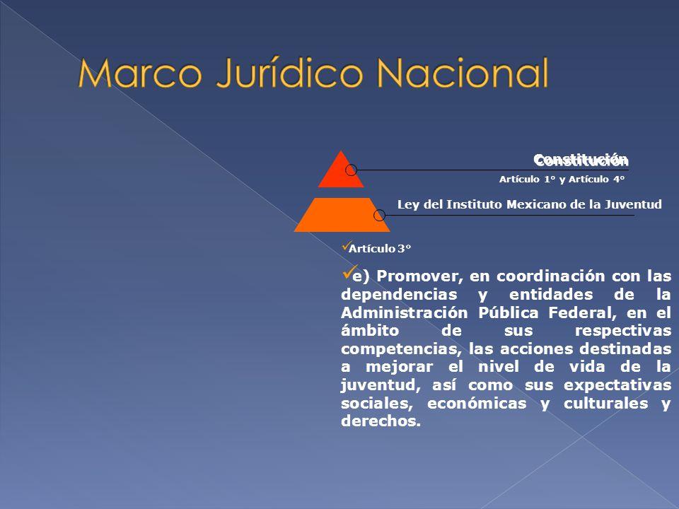 Artículo 3° Artículo 1° y Artículo 4° Ley del Instituto Mexicano de la Juventud Constitución Leyes FederalesPlaneación Federal Plan Nacional de Desarrollo Programas Sectoriales/Semarnat Estrategia Nacional para la Participación Ciudadana en el Sector Ambiental Programa Nacional de Jóvenes Hacia la Sustentabilidad Ambiental