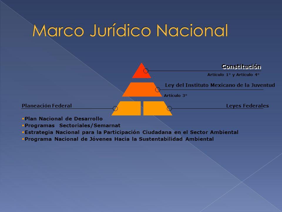 Artículo 3° Artículo 1° y Artículo 4° Ley del Instituto Mexicano de la Juventud Constitución Leyes FederalesPlaneación Federal Plan Nacional de Desarr