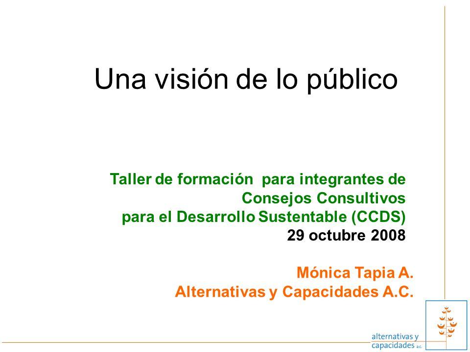 Una visión de lo público Taller de formación para integrantes de Consejos Consultivos para el Desarrollo Sustentable (CCDS) 29 octubre 2008 Mónica Tap