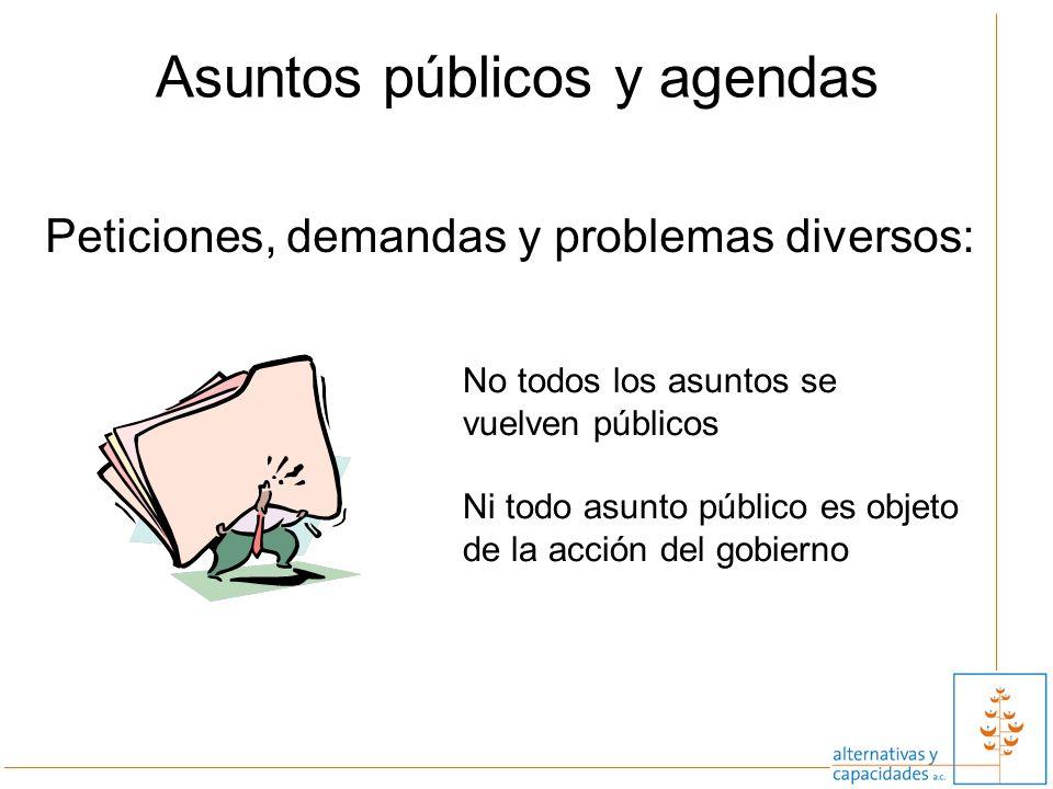 10 Asuntos públicos y agendas Peticiones, demandas y problemas diversos: No todos los asuntos se vuelven públicos Ni todo asunto público es objeto de