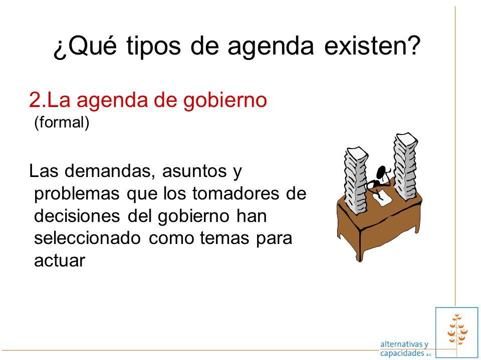 12 ¿Qué tipos de agenda existen? 2.La agenda de gobierno (formal) Las demandas, asuntos y problemas que los tomadores de decisiones del gobierno han s
