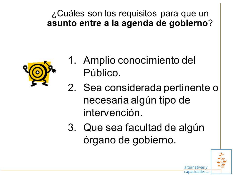 ¿Cuáles son los requisitos para que un asunto entre a la agenda de gobierno? 1.Amplio conocimiento del Público. 2.Sea considerada pertinente o necesar