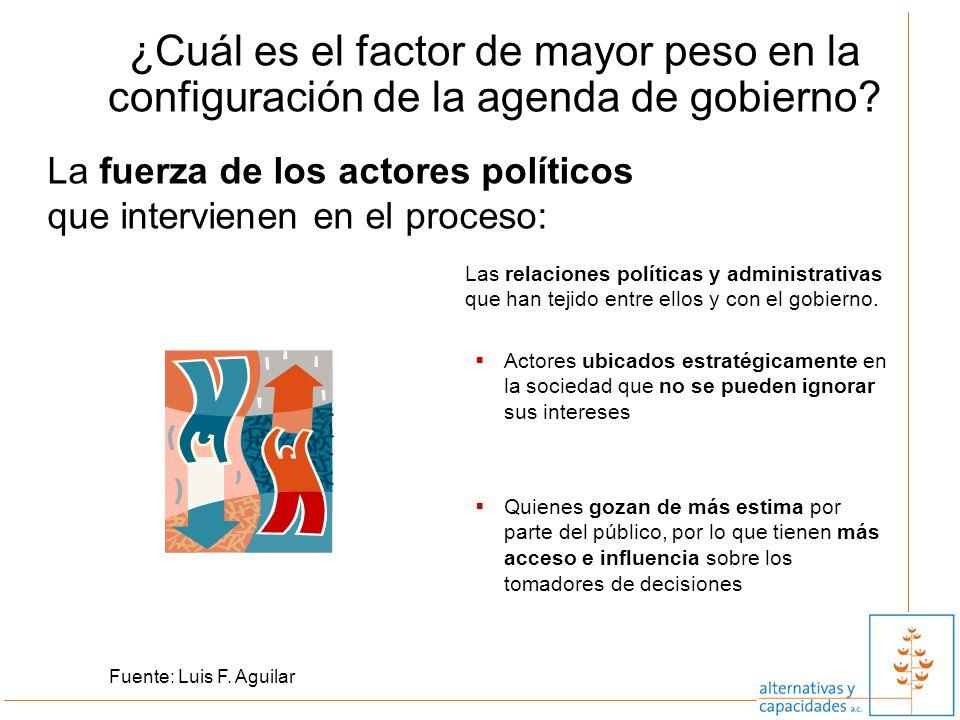 ¿Cuál es el factor de mayor peso en la configuración de la agenda de gobierno? La fuerza de los actores políticos que intervienen en el proceso: Fuent