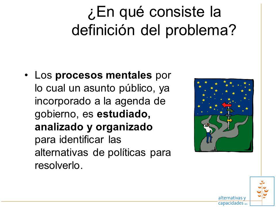 ¿En qué consiste la definición del problema? Los procesos mentales por lo cual un asunto público, ya incorporado a la agenda de gobierno, es estudiado