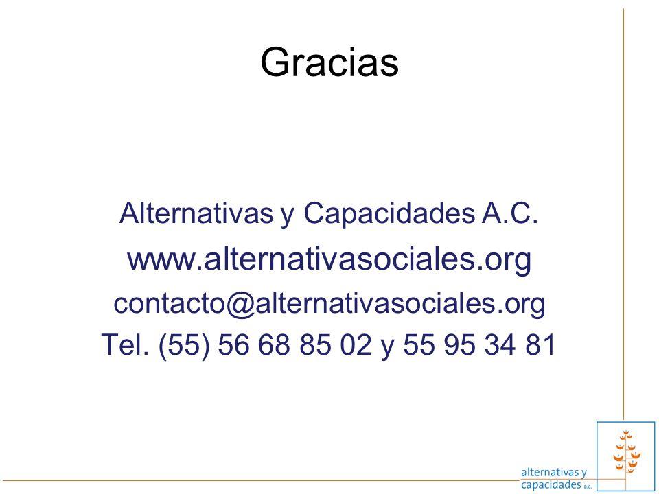 Gracias Alternativas y Capacidades A.C. www.alternativasociales.org contacto@alternativasociales.org Tel. (55) 56 68 85 02 y 55 95 34 81