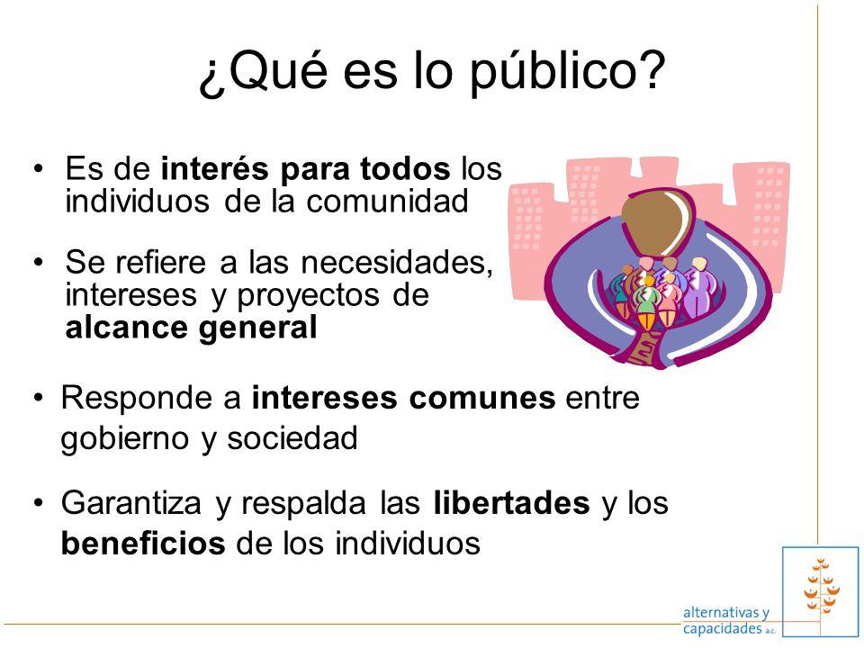 3 Es de interés para todos los individuos de la comunidad Se refiere a las necesidades, intereses y proyectos de alcance general ¿Qué es lo público? R