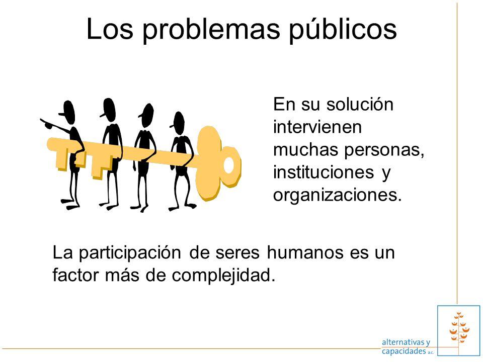 9 Los problemas públicos En su solución intervienen muchas personas, instituciones y organizaciones. La participación de seres humanos es un factor má