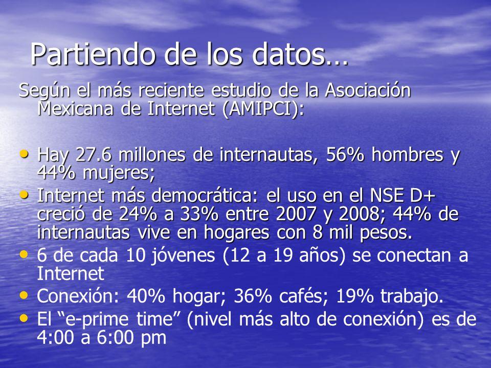 Partiendo de los datos… Según el más reciente estudio de la Asociación Mexicana de Internet (AMIPCI): Hay 27.6 millones de internautas, 56% hombres y 44% mujeres; Hay 27.6 millones de internautas, 56% hombres y 44% mujeres; Internet más democrática: el uso en el NSE D+ creció de 24% a 33% entre 2007 y 2008; 44% de internautas vive en hogares con 8 mil pesos.