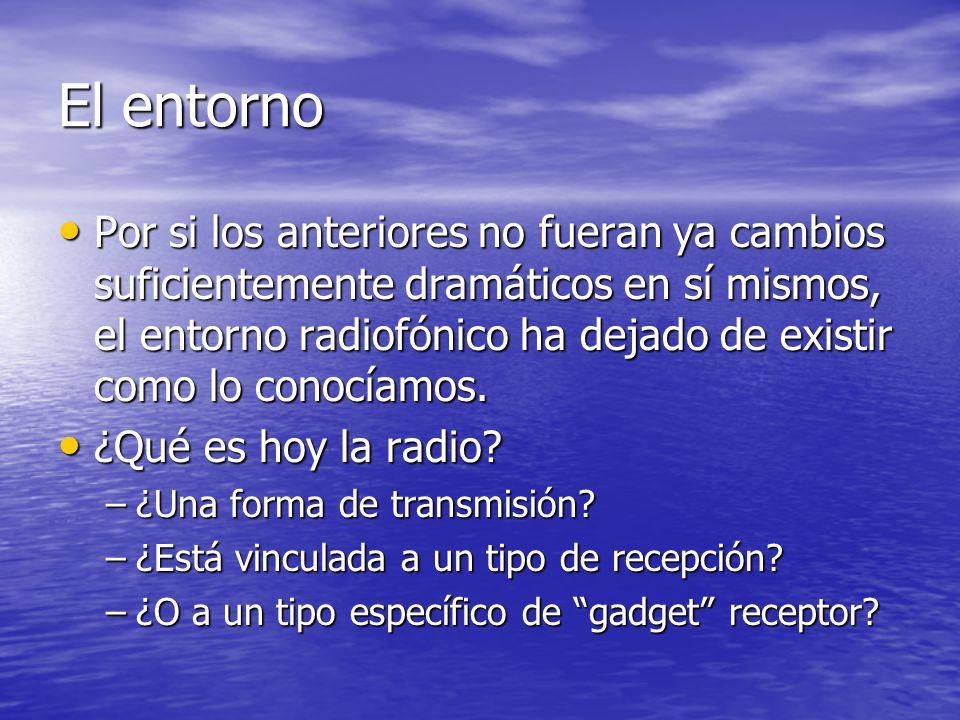 El entorno Por si los anteriores no fueran ya cambios suficientemente dramáticos en sí mismos, el entorno radiofónico ha dejado de existir como lo conocíamos.