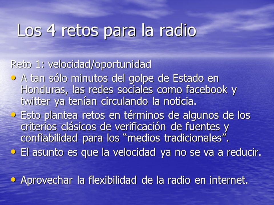 Los 4 retos para la radio Reto 1: velocidad/oportunidad A tan sólo minutos del golpe de Estado en Honduras, las redes sociales como facebook y twitter ya tenían circulando la noticia.
