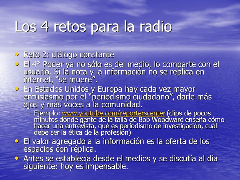 Los 4 retos para la radio Reto 2: diálogo constante Reto 2: diálogo constante El 4° Poder ya no sólo es del medio, lo comparte con el usuario.