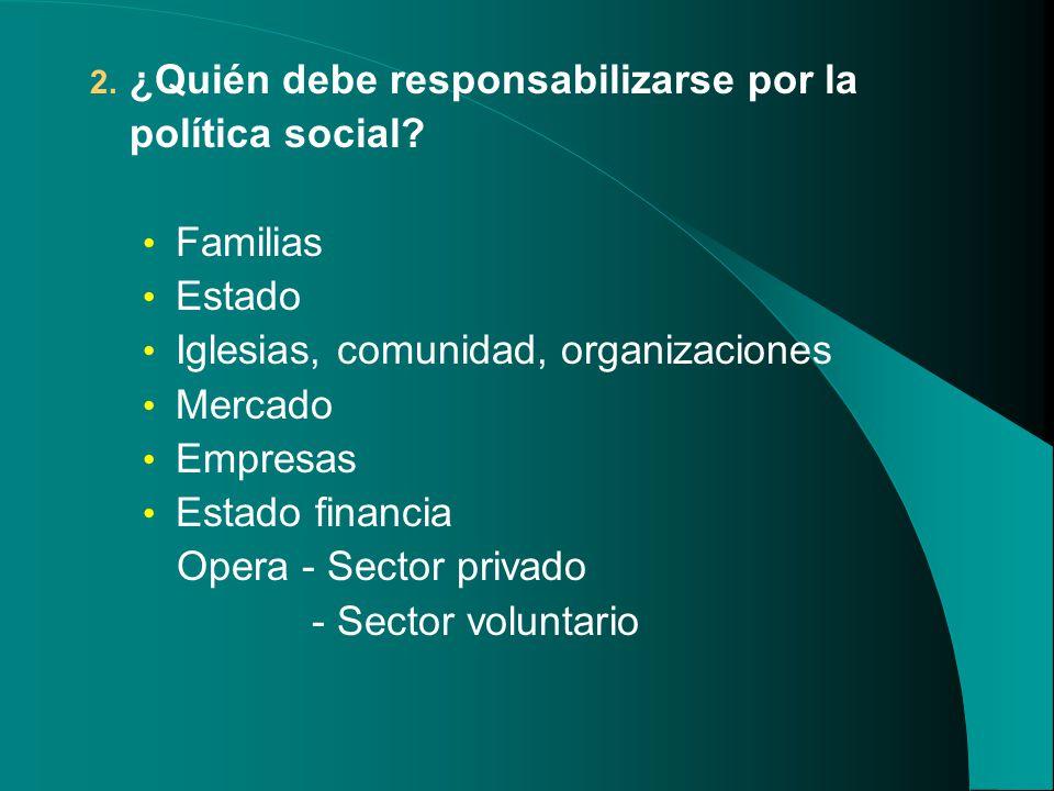 2. ¿Quién debe responsabilizarse por la política social? Familias Estado Iglesias, comunidad, organizaciones Mercado Empresas Estado financia Opera -