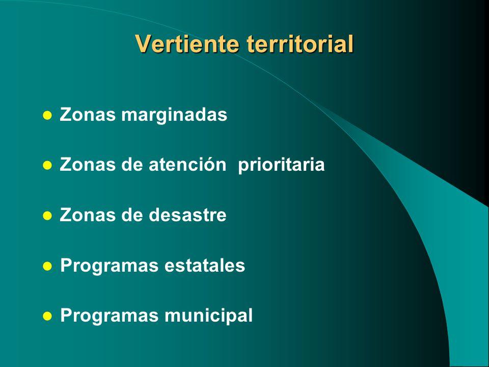 Vertiente territorial Zonas marginadas Zonas de atención prioritaria Zonas de desastre Programas estatales Programas municipal