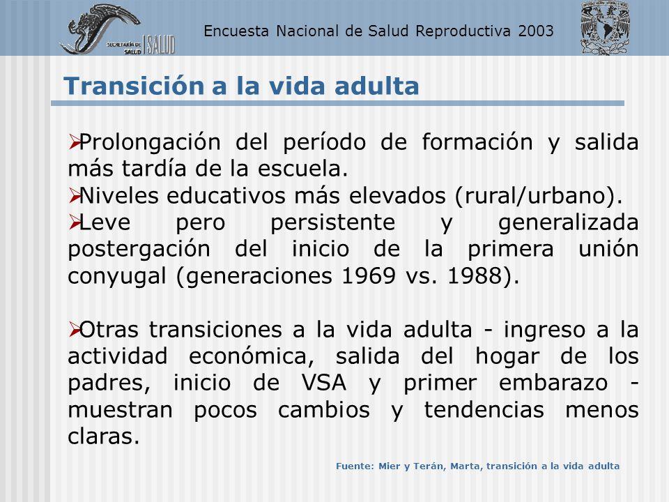Encuesta Nacional de Salud Reproductiva 2003 Transición a la vida adulta Prolongación del período de formación y salida más tardía de la escuela. Nive