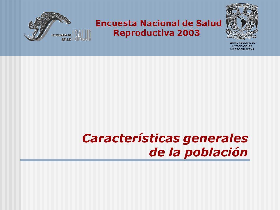 Encuesta Nacional de Salud Reproductiva 2003 Estructura por edad y sexo Fuente: Echarri, Carlos, Los hogares en la Encuesta Nacional de Salud Reproductiva, 2003