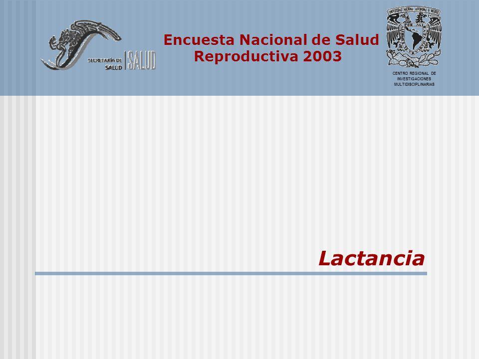 Encuesta Nacional de Salud Reproductiva 2003 CENTRO REGIONAL DE INVESTIGACIONES MULTIDISCIPLINARIAS Lactancia