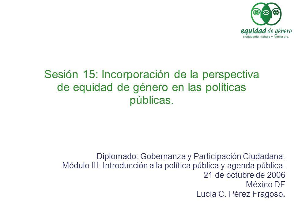 Sesión 15: Incorporación de la perspectiva de equidad de género en las políticas públicas. Diplomado: Gobernanza y Participación Ciudadana. Módulo III