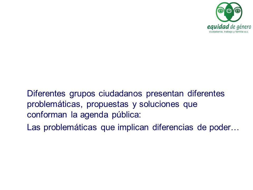 Diferentes grupos ciudadanos presentan diferentes problemáticas, propuestas y soluciones que conforman la agenda pública: Las problemáticas que implic