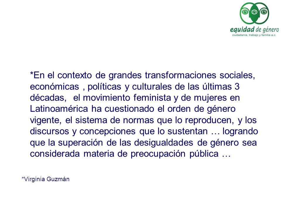 *En el contexto de grandes transformaciones sociales, económicas, políticas y culturales de las últimas 3 décadas, el movimiento feminista y de mujere