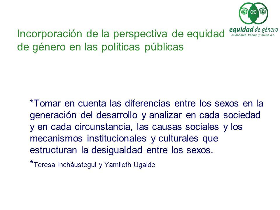 Incorporación de la perspectiva de equidad de género en las políticas públicas *Tomar en cuenta las diferencias entre los sexos en la generación del d