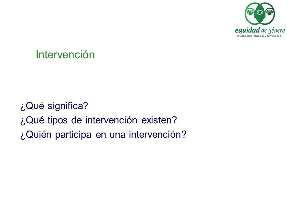Intervención ¿Qué significa? ¿Qué tipos de intervención existen? ¿Quién participa en una intervención?