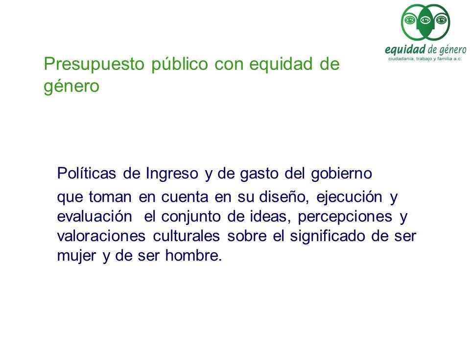 Presupuesto público con equidad de género Políticas de Ingreso y de gasto del gobierno que toman en cuenta en su diseño, ejecución y evaluación el con