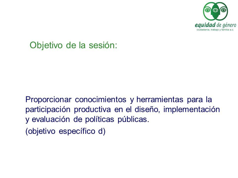 Objetivo de la sesión: Brindar herramientas metodológicas para la incorporación de la perspectiva de equidad de género en el diseño, la ejecución y la evaluación de las políticas públicas.