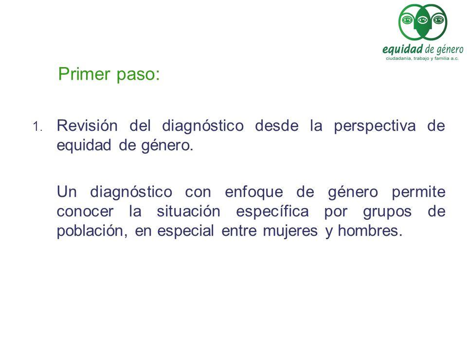 Primer paso: 1. Revisión del diagnóstico desde la perspectiva de equidad de género. Un diagnóstico con enfoque de género permite conocer la situación