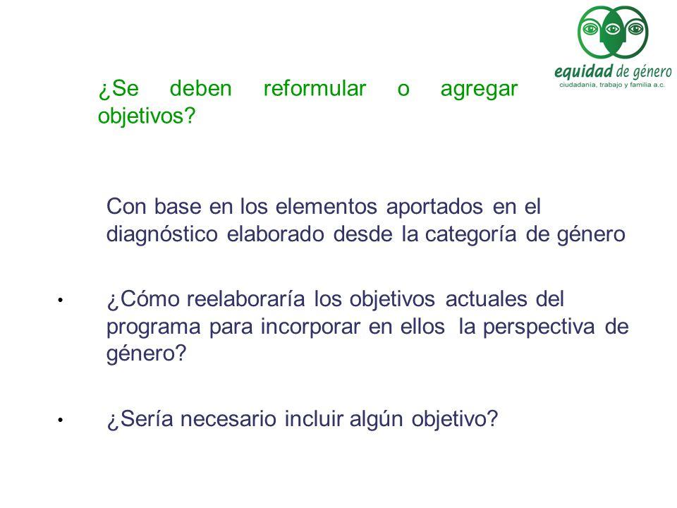 Con base en los elementos aportados en el diagnóstico elaborado desde la categoría de género ¿Cómo reelaboraría los objetivos actuales del programa pa
