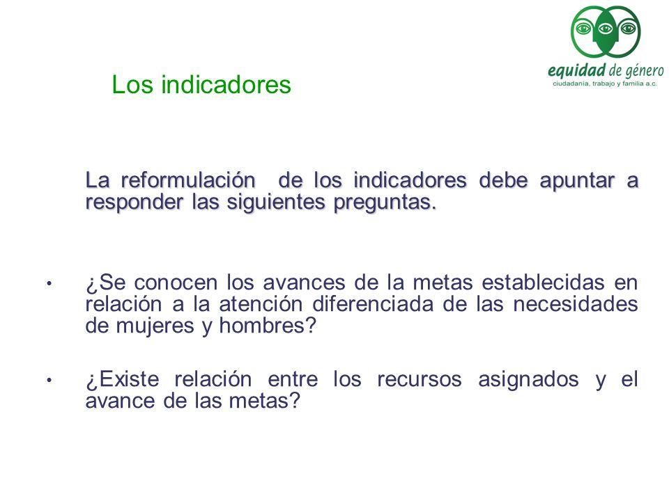 La reformulación de los indicadores debe apuntar a responder las siguientes preguntas. ¿Se conocen los avances de la metas establecidas en relación a