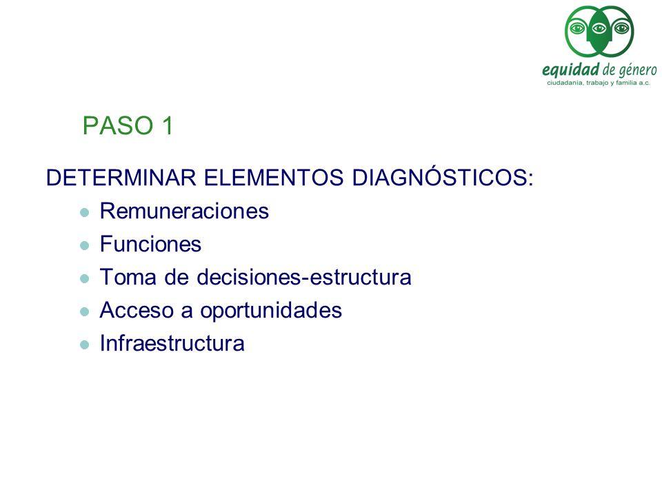 PASO 1 DETERMINAR ELEMENTOS DIAGNÓSTICOS: Remuneraciones Funciones Toma de decisiones-estructura Acceso a oportunidades Infraestructura