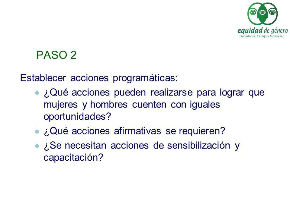 PASO 2 Establecer acciones programáticas: ¿Qué acciones pueden realizarse para lograr que mujeres y hombres cuenten con iguales oportunidades? ¿Qué ac