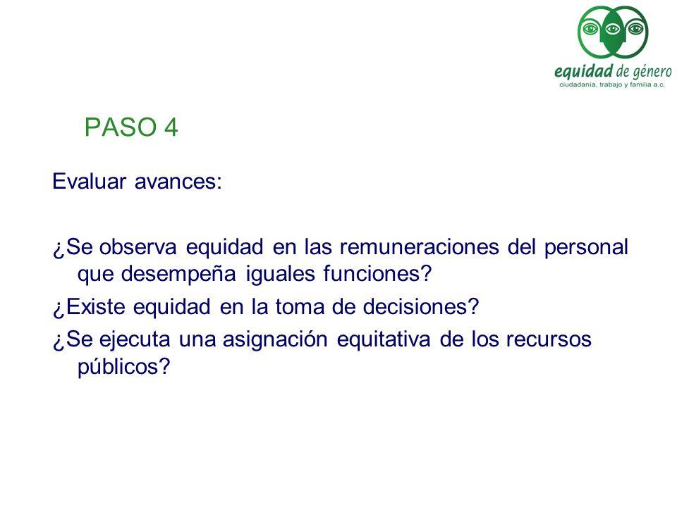 PASO 4 Evaluar avances: ¿Se observa equidad en las remuneraciones del personal que desempeña iguales funciones? ¿Existe equidad en la toma de decision