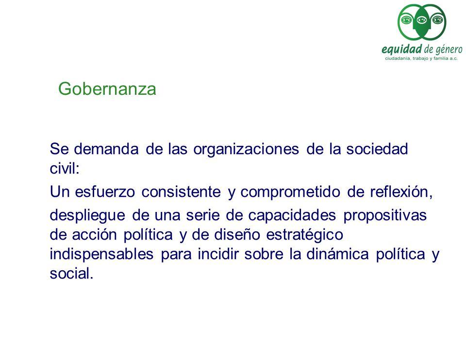 Gobernanza Se demanda de las organizaciones de la sociedad civil: Un esfuerzo consistente y comprometido de reflexión, despliegue de una serie de capa