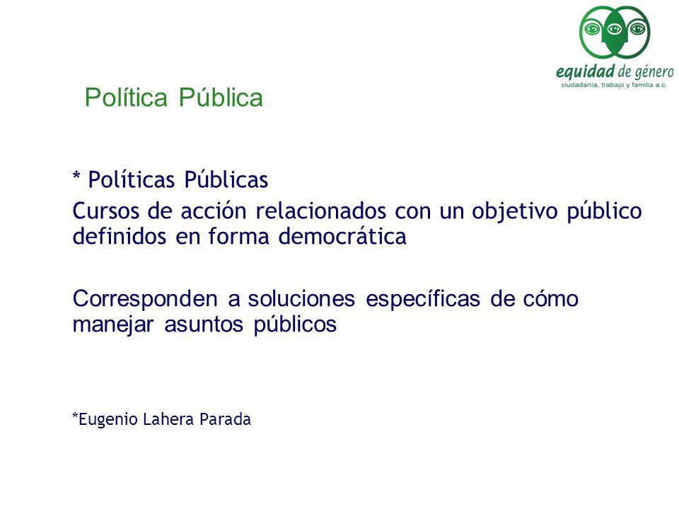 Política Pública * Políticas Públicas Cursos de acción relacionados con un objetivo público definidos en forma democrática Corresponden a soluciones e