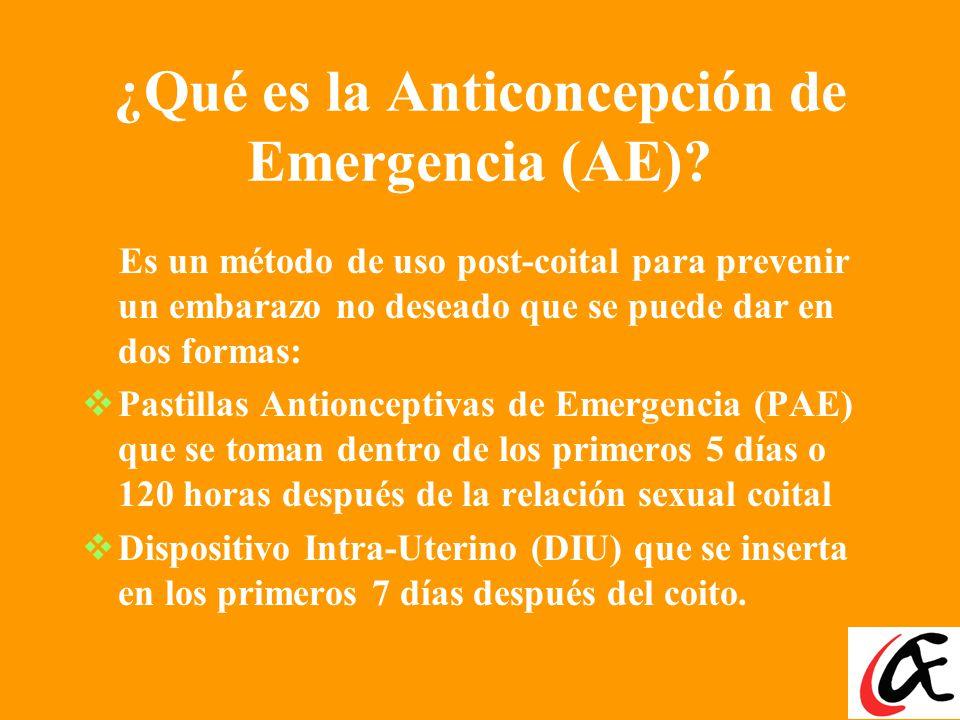 ¿Qué es la Anticoncepción de Emergencia (AE).