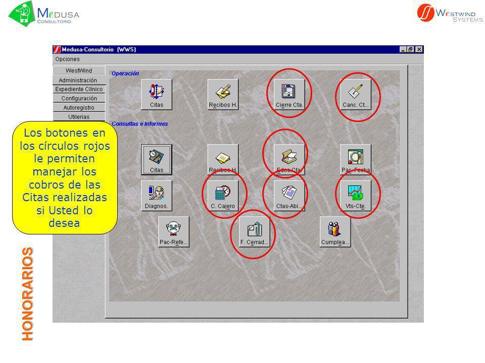 HONORARIOS Los botones en los círculos rojos le permiten manejar los cobros de las Citas realizadas si Usted lo desea