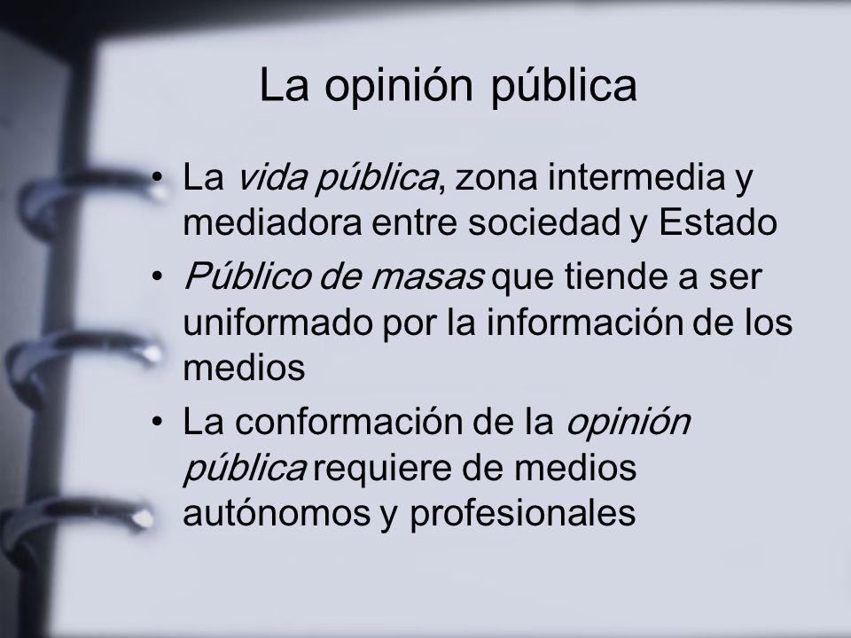 Sociedad marginada del espacio público Escasa tradición de participación y expresión públicas Débil cultura del debate público Espectacularización de