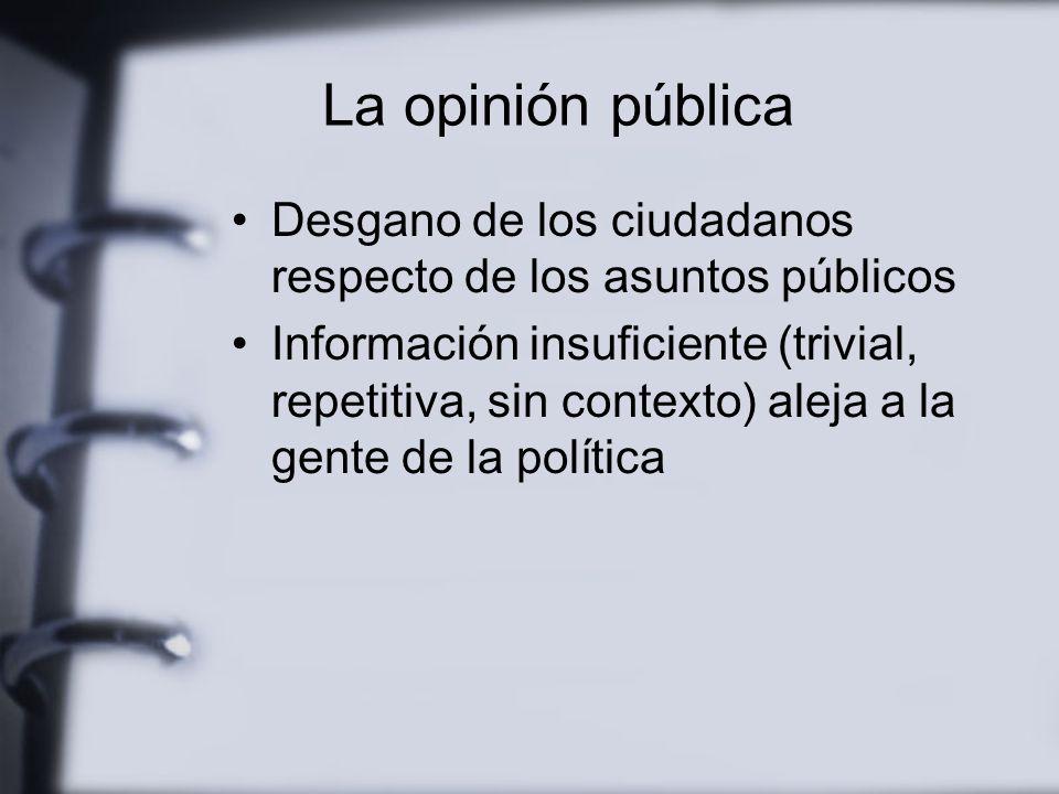 La opinión pública No existe una opinión acerca de los temas públicos en la sociedad contemporánea Las opiniones se forjan con informaciones –que suelen propagarse a trávés de los medios--