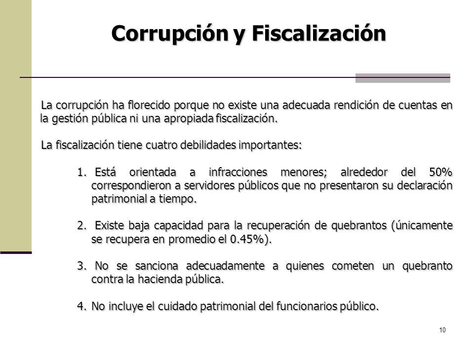 10 La corrupción ha florecido porque no existe una adecuada rendición de cuentas en la gestión pública ni una apropiada fiscalización. La fiscalizació