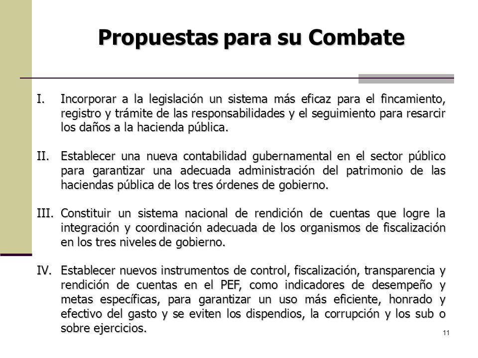 11 Propuestas para su Combate I.Incorporar a la legislación un sistema más eficaz para el fincamiento, registro y trámite de las responsabilidades y e
