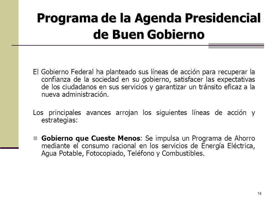 14 El Gobierno Federal ha planteado sus líneas de acción para recuperar la confianza de la sociedad en su gobierno, satisfacer las expectativas de los